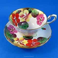 Handpainted Nasturtium Floral Tuscan Tea Cup and Saucer Set