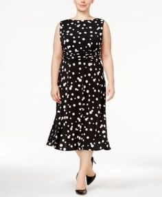 0b5a48f20d9 Jessica Howard Plus Size Polka-Dot Midi Dress - Black 22W Midi Dress Plus  Size