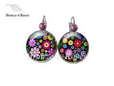 """Boucles d'oreilles """" Petites fleurs multicolores """" métal argenté cabochons dormeuses"""