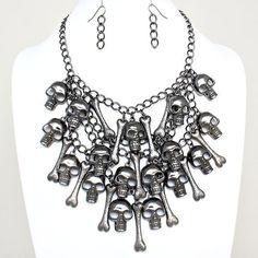 NewDesign Hematite Skull Bone Bib Statement  Necklace Chain Pendant Earring Set #Unbranded #BibCollar