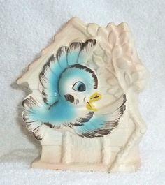 Vintage Bluebird Planter Wall Plaque Vase
