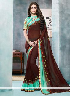 Real splendor will come out of your dressing style with this brown georgette printed saree. The print work appears to be like chic and aspiration for any function. Comes with matching blouse. (Slight ...