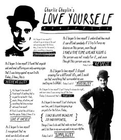 """Created from Charlie Chaplin's poem """"As I Began to Love Myself"""", this artwork shares some beautiful wisdom from his inspired life"""
