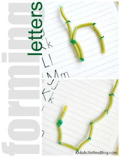 abc formation, learn letters with the help of pasta and pipecleaners - my kids love feeling the letters.