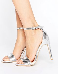 7c29c78d656 Public Desire Lily Silver Barely There Heeled Sandals