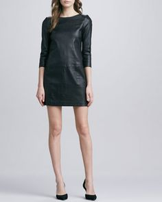 Relaxed+3/4-Sleeve+Leather+Minidress+by+Vince+at+Neiman+Marcus.
