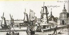 Rotterdam, 1665: Links achteraan de Schiedamsche Poort, rechts de Nieuwe Wester (haven) Poort.