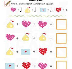 Valentine's Day Music Math Free Printable Worksheet  - Fun and Learn Music » Music Worksheets – Valentine – Music Math