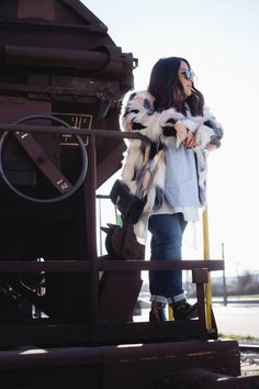 I recreated this look by using items from the esprit shop. My multi-colored faux fur jacket. Faux Fur Jacket, Low Key, Baby Strollers, Color, Outfits, Shopping, Spirit, Baby Prams, Suits
