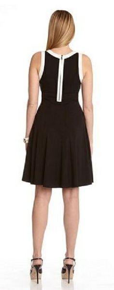 Super Cute Black and White Contrast Binding Dress!  Karen_Kane #LBD #Summer #Fashion.