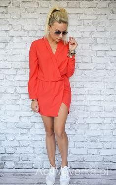 Sukienka kopertowa KORAL. AchVeverka.pl #sukienka #czerwona #kopertowa #koralowa #achveverka