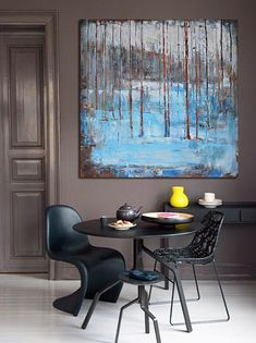 Large Abstract Landscape Oil Painting Canvas by CZ Art Design