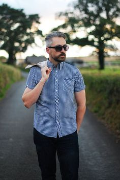 Gingham shirt, Harrington jacket #menswear