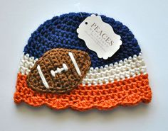 Girls Baby Football Hats Broncos / Chicago Bears by Peaces by Cortney