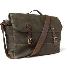 56c4cb30c5 J.Crew Abingdon Waxed Cotton-Canvas and Leather Messenger Bag Besaces De  Designer,