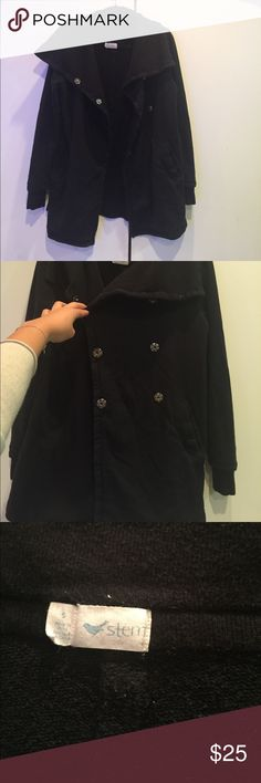 Black Double Breasted Jacket Cotton material, VERY soft. Bought at Nordstrom Stem Jackets & Coats