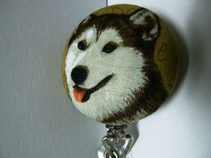 Fine+Wolf+Face+Retractable+ID+Holder