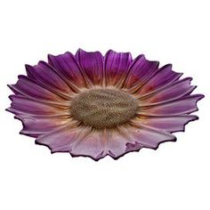 """Crafted from ceramic and showcasing a pink sunflower design, this eye-catching bowl is the perfect focal point to your living room credenza or dining room console table.   Product: PlateConstruction Material: GlassColor: PurpleDimensions: 16"""" Diameter"""