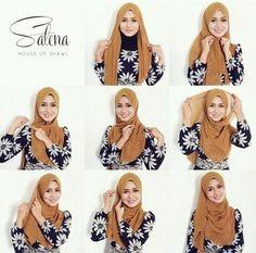 Shawl tutorial for chiffon hijab Square Hijab Tutorial, Simple Hijab Tutorial, Hijab Simple, Hijab Style Tutorial, Stylish Hijab, Hijab Casual, Hijab Chic, Hijab Outfit, Tutorial Hijab Pesta