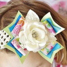 baby hair bow...pink/lime/ivory rose hairbow...infant headband....accessory for newborn, toddler and little girls hair bow...baby bow. $11.99, via Etsy.