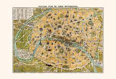 PARIS MAP PRINT Antique Paris France Map by EncorePrintSociety