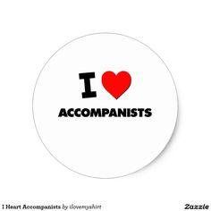 I Heart Accompanists Classic Round Sticker