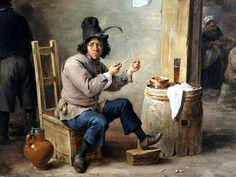 Stadelsches Kunstinstitut, Frankfurt  David Teniers the Younger (1610-90) - Smoker at an inn, c1659 : detail