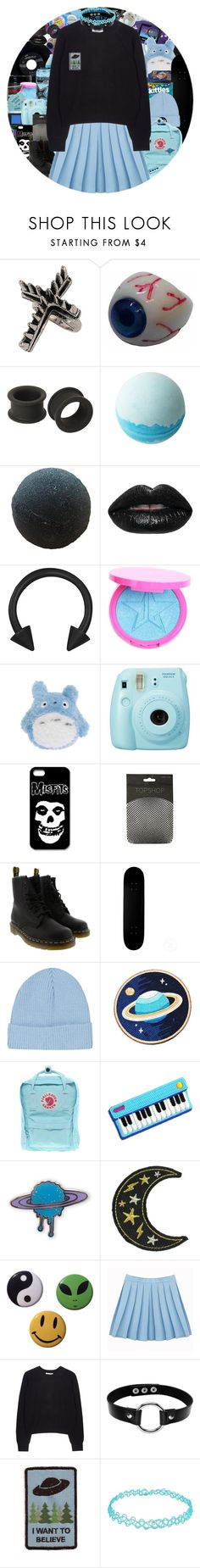 """stressed and depressed :))))))"" by chemicalfallout249 ❤ liked on Polyvore featuring CASSETTE, Topshop, Kreepsville 666, KAOS, Disney, CHESTERFIELD, Manic Panic NYC, Hot Topic, Fujifilm and Dr. Martens"