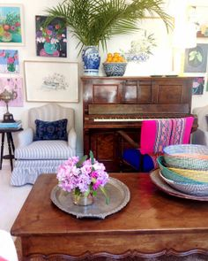 This past weekend, I moved our piano to the opposite (and smaller) wall in our living room. Bohemian Furniture, Bohemian Decor, Boho Chic, Room Colors, House Colors, Colours, Whatsapp Pink, Anna Spiro, Eclectic Decor
