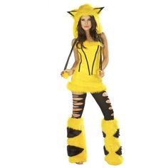 Yellow Hooded Pikachu Halloween Costume (160 BRL) ❤ liked on Polyvore