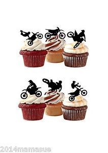 24-MOTOCROSS-MOTOR-BIKE-STAND-UP-SILHOUETTE-CUPCAKE-WAFER-RICE-CARD-TOPPERS