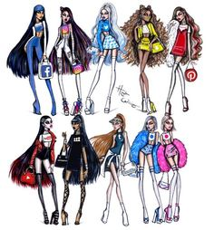 Fashion Drawing 'Social Media Divas' collection by Hayden Williams - Amazing Drawings, Cool Art Drawings, Drawing Ideas, Cartoon Kunst, Cartoon Art, Art Drawings Sketches, Disney Drawings, Dress Sketches, Social Media Art