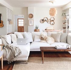 10 Generous ideas: Natural Home Decor Ideas Free People natural home decor living room inspiration.All Natural Home Decor Coffee Tables natural home decor house.Natural Home Decor Diy Simple. Home Living Room, Living Room Designs, Living Spaces, White Couch Living Room, Living Room Neutral, Living Room Wall Shelves, Cream And White Living Room, Cream Living Room Decor, Navy Couch