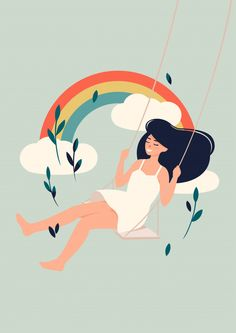 Brunette girl swinging in front of a rai. Art Drawings Sketches, Cute Drawings, Love Illustration, Girl Illustrations, Character Illustration, Cartoon Art, Cartoon Girls, Cute Art, Art Girl