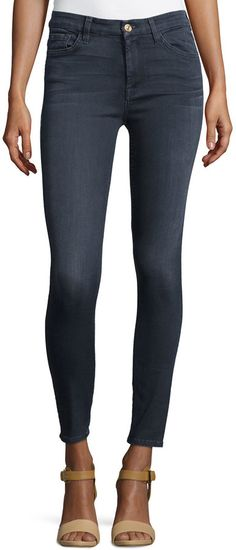 7 For All Mankind High-Waist Ankle Skinny Jeans, Bastille