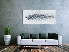 Modernes Acrylbild abstrakt schlicht weiß grau 70x160cm von xxl-art.de