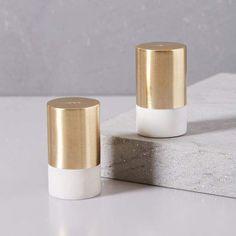west elm Marble + Brass Salt + Pepper Shaker Set
