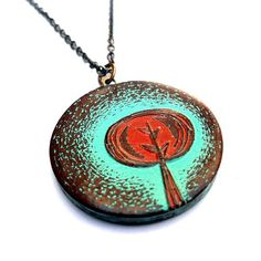 Rustic Turquoise and Rust Red Tree Necklace - Tree Hugger - Tree Pendant