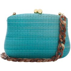 Serpui Marie Blair Blue Straw Clutch With Resin Chain ($210) ❤ liked on Polyvore featuring bags, handbags, clutches, blue, straw purses, woven purse, blue clutches, chain purse and straw handbags