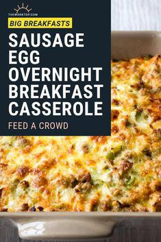 Make this Sausage and Egg Breakfast Casserole recipe to feed a crowd. Its loaded with sausage egg and cheese for a hearty breakfast. This prepare this easy breakfast recipe the night before and impress your guests. Egg And Cheese Casserole, Breakfast Casserole With Bread, Overnight Breakfast Casserole, Brunch Casserole, Casserole Recipes, Egg Bake With Hashbrowns, Overnight Egg Bake, Christmas Breakfast Casserole, Sausage Egg Casserole