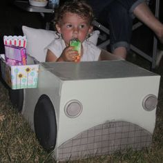 Drive-in Movie night cars- I love that these have built in tables and snack holders.