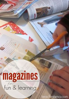 Do you have TONS of magazines just laying around the house? Use them for fun and learning with one of these five AWESOME ideas! #teachmama #magazines #repurpose #activities #crafts #kidsactivities #learningactivities