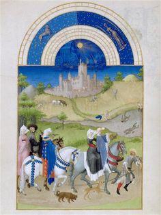 Le mois d'août. Jean et Hermann Limbourg. Les Très Riches Heures du duc de Berry (1411-1416) le Calendrier.