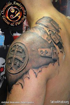Photo-realistic shoulder armor tattoo.