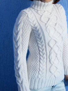 First Snow & Free Pattern Free Aran Knitting Patterns, Cable Knitting, Vintage Knitting, Cable Knit Sweaters, Knitting Stitches, Knit Patterns, Free Knitting, Pullover Design, Summer Knitting
