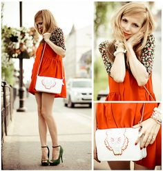 Style from Russia - Orange Jumper Dress, Floral shirt, Fern Green Shoes