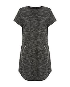 Black Textured Fine Knit Zip Front Tunic Dress  | New Look