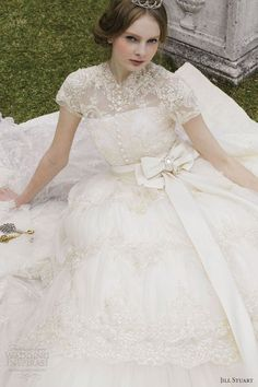 Princess Wedding Dresses : jill stuart bridal 2012 short sleeve lace wedding dress