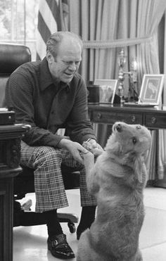 """I love this picture. Look at the expression on Liberty's face. (""""President Ford with his dog"""")"""