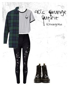 """""""90's Grunge Outfit"""" by grungevoid ❤ liked on Polyvore featuring WithChic, Essentiel and Dr. Martens"""